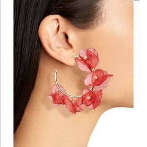 Chiffon petal hoop earrings